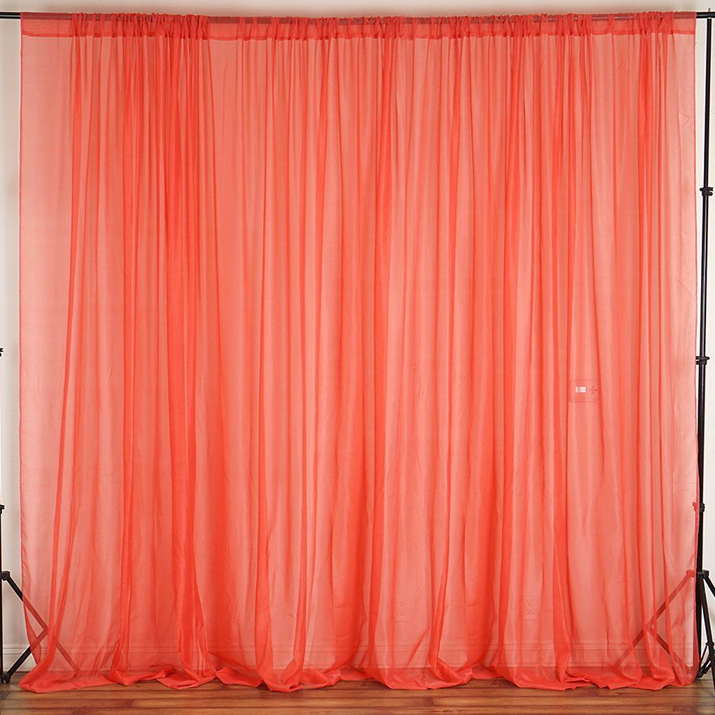 10ft Fire Retardant Coral Sheer Curtain Panel Backdrops With Rod Pockets Premium Collection Curtains Panel Curtains Curtain Decor