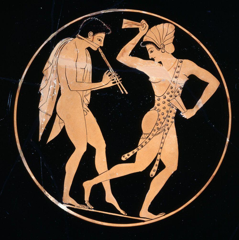доставляет древнегреческие рисунки на стенах работающему человеку