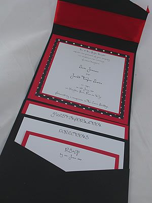 Black Red And White Wedding Invite With Polka Spots And Red Ribbon.