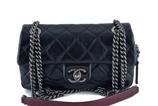 621010b909f325 Chanel Easy Classic Mini Flap, Black Glazed Calfskin Crossbody Bag ...
