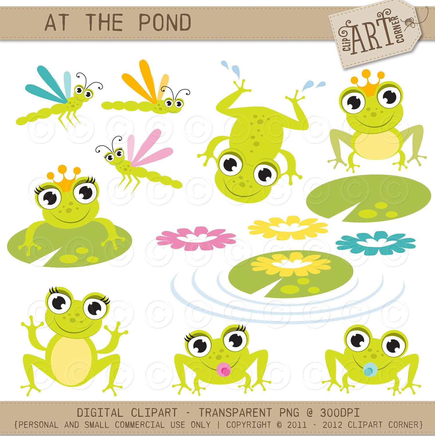 Digital clipart - Frogs At The Pond (Frog Prince, Frog Princess ...