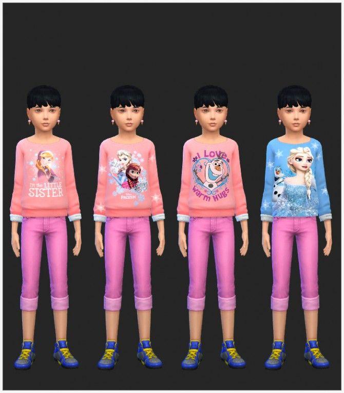 Girls Frozen Tops at Simista via Sims 4 Updates