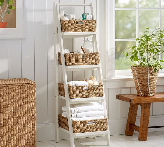 Ainsley Ladder Floor Storage With Baskets Bathroom Basket Storage Bathroom Towel Storage Small Bathroom Storage
