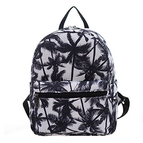 Urmiss Small Flowers Floral Leaf Graffiti Printed Canvas Casual Backpack Travel Shoulder Bag Students Schoolbag Rucksack for Kids Girls Boys and Women *** Read more  at the image link.