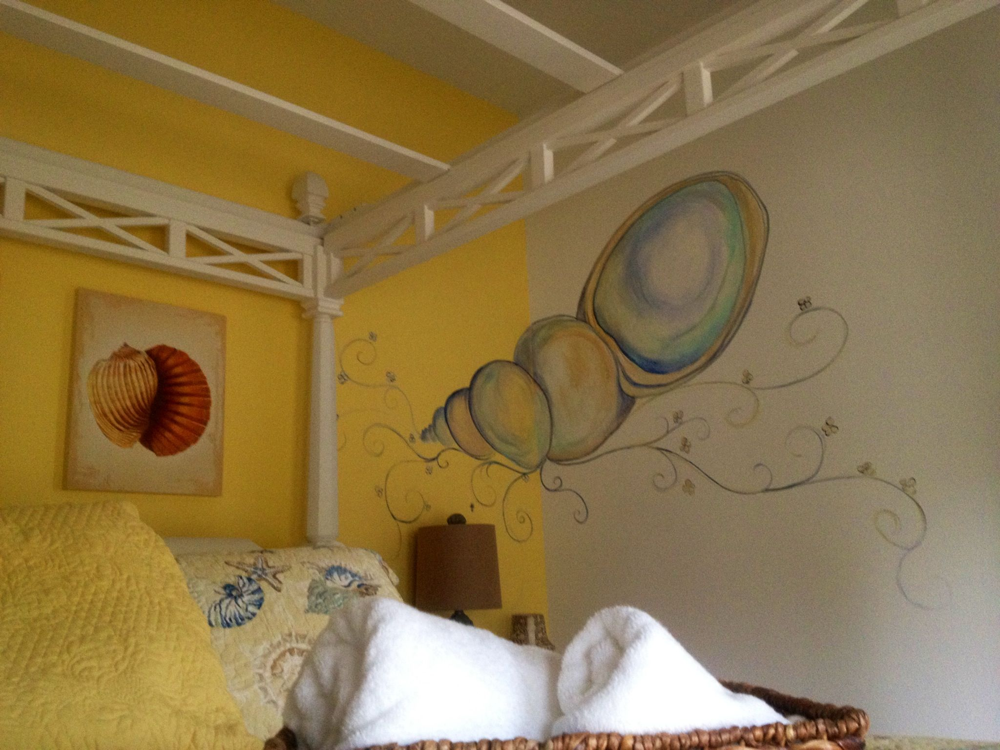 painting decorative images in a corner wall area helps round out a
