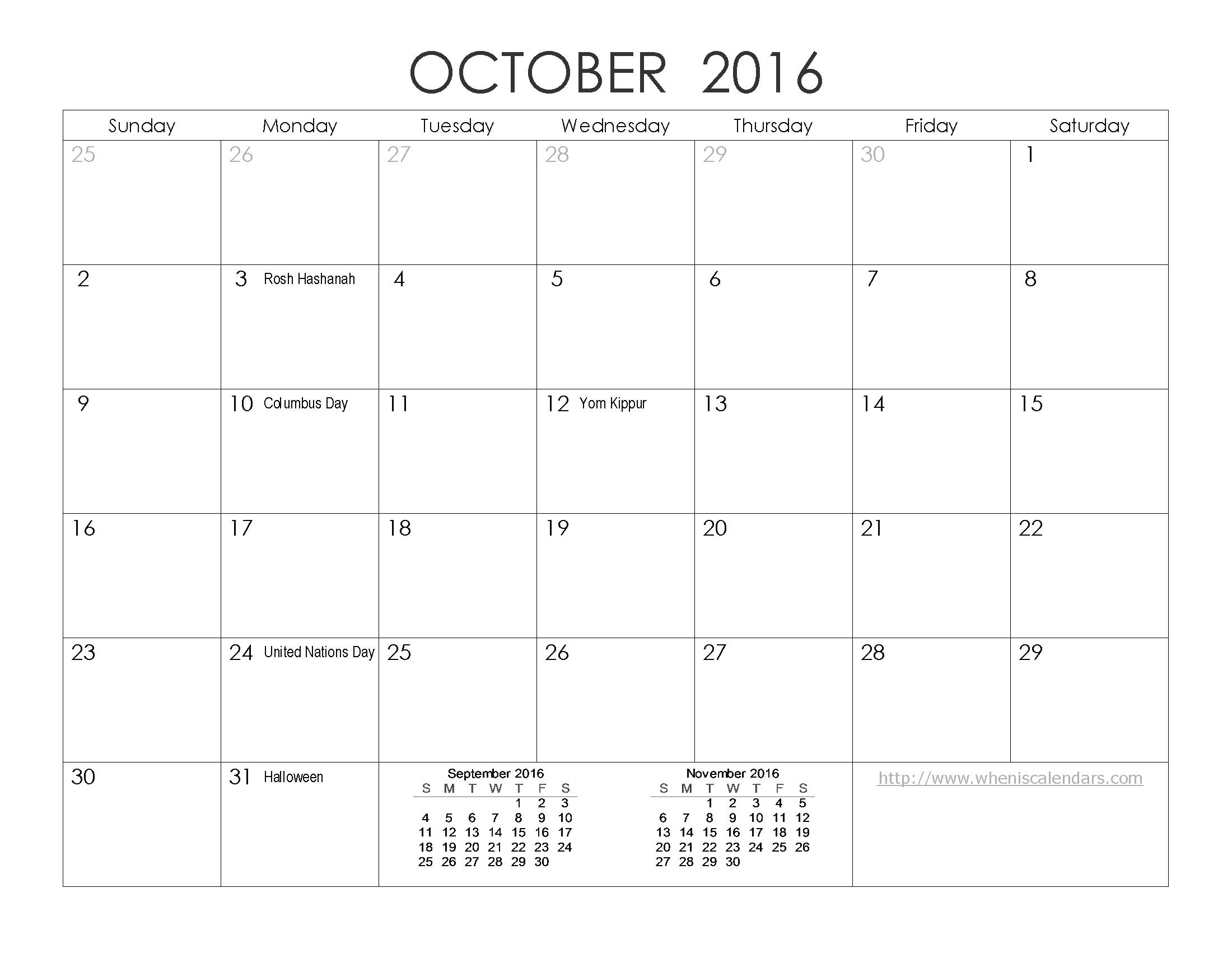 October Calendar Download