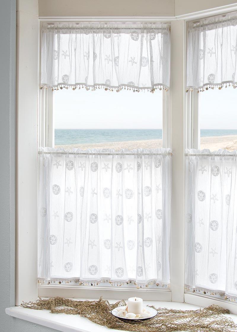 Sand Dollar Valance With Trim Curtains Valance Beach Curtains