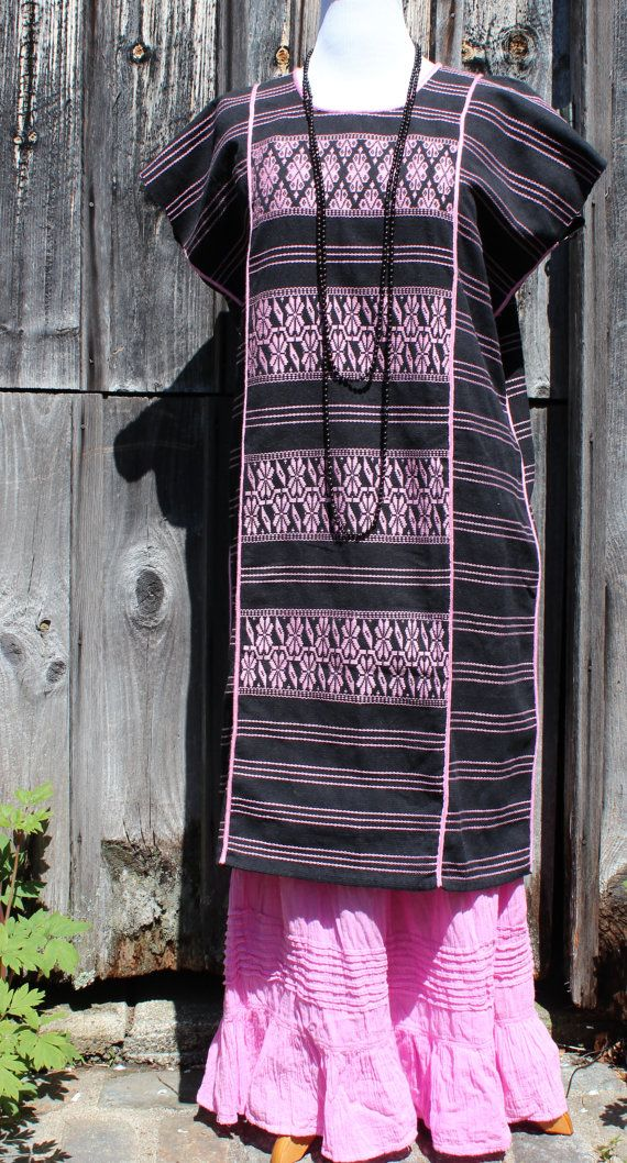 Mexican Tunic  Black & Light Pink Huipil Dress with by OaxacanArts, $95.00