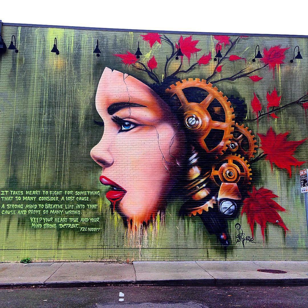 """#fel3000ft #publicart #muralart #Detroit"""
