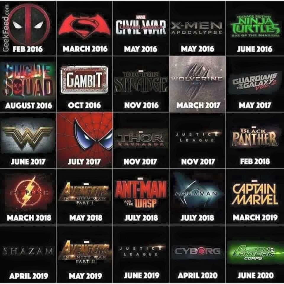 Movie Happenings For Marvel 2017 2020 Superhero Movies Marvel Upcoming Marvel Movies