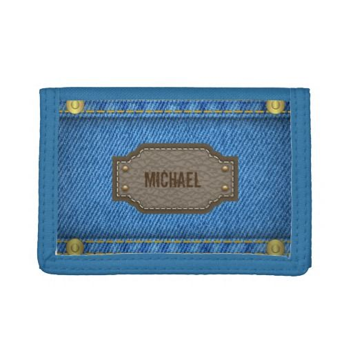 blue denim jeans with leather name label tri fold wallets name
