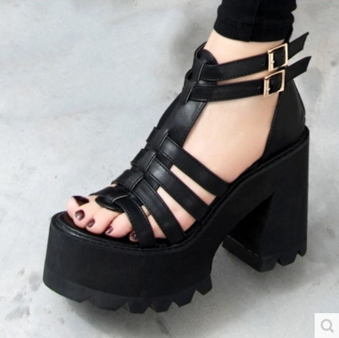 Womens Chunky Heels Platform Strap Buckle Open Toe Sandals Gladiator Punk Shoes