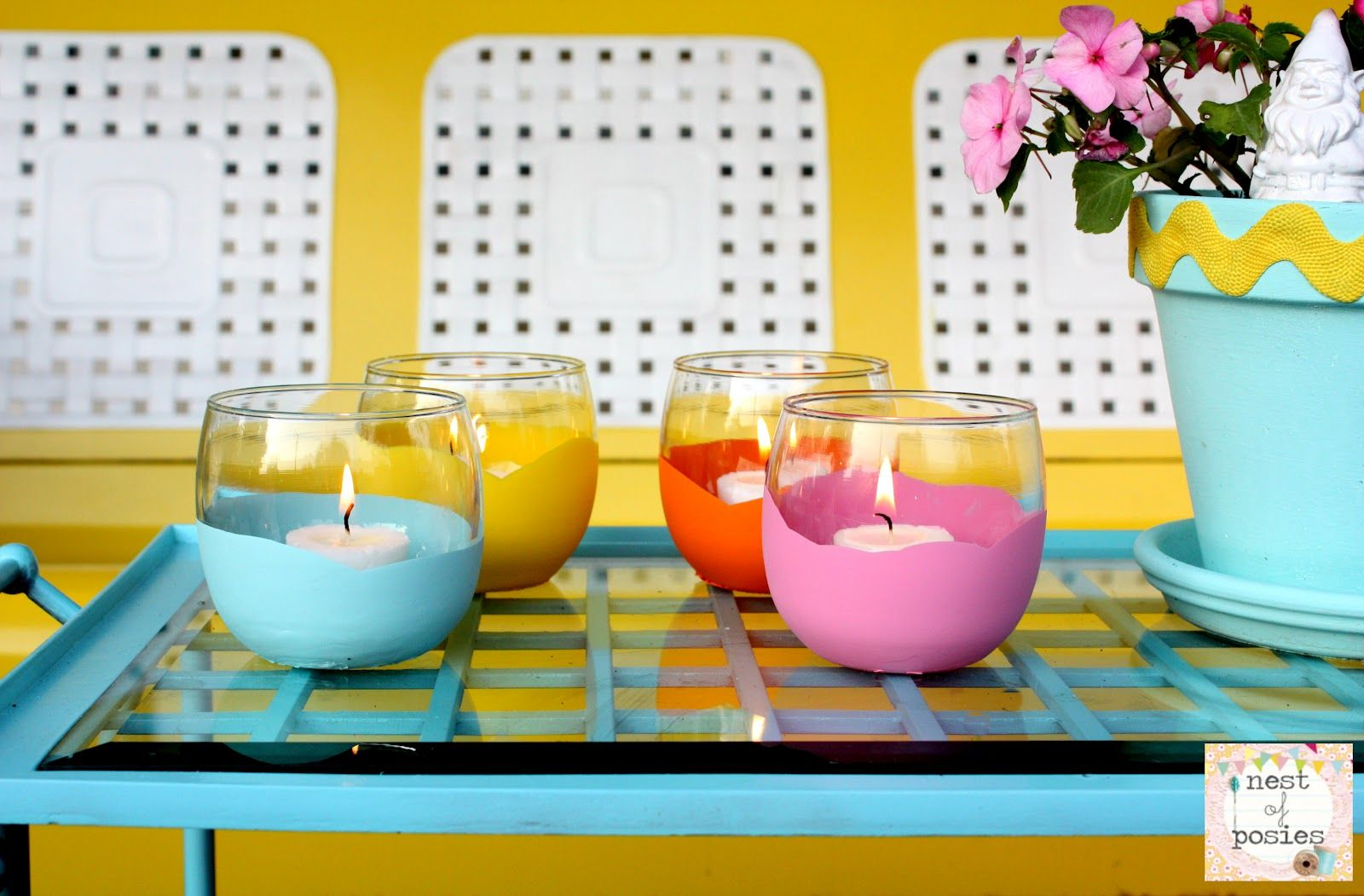 Dipped Votives - Dollar Store Craft Idea.  Perfect for Summer nights!  via Nest of Posies