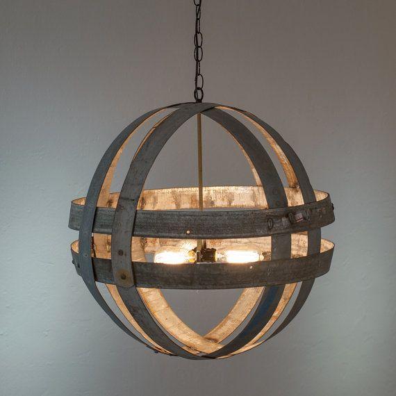 Double Ring Chandelier - ATOM - Cyclopean - Wine Barrel Globe Light - 100% RECYCLED & Double Ring Chandelier - ATOM - Cyclopean - Wine Barrel Globe ... azcodes.com