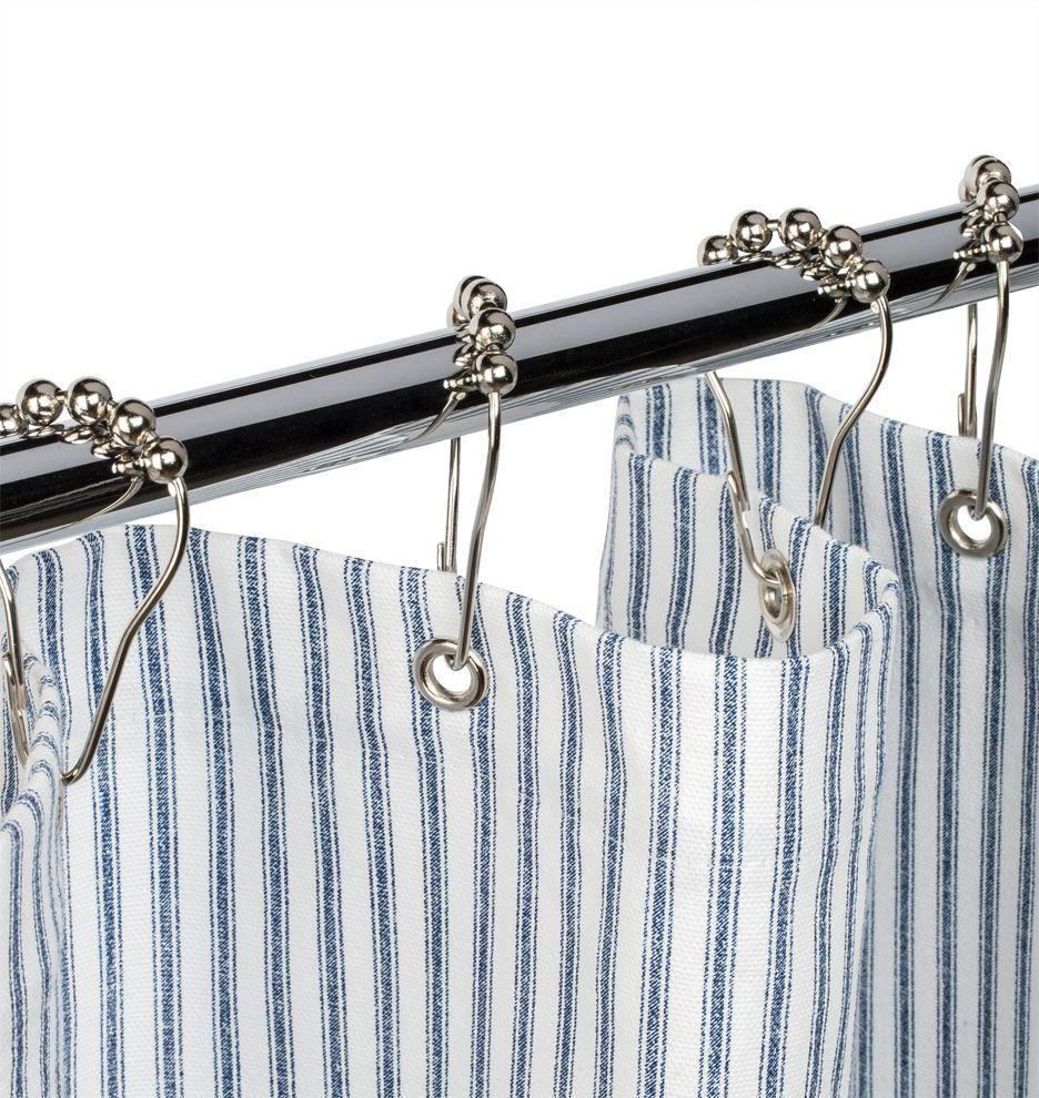 Blue Ticking Cotton Duck Cloth Shower Curtain