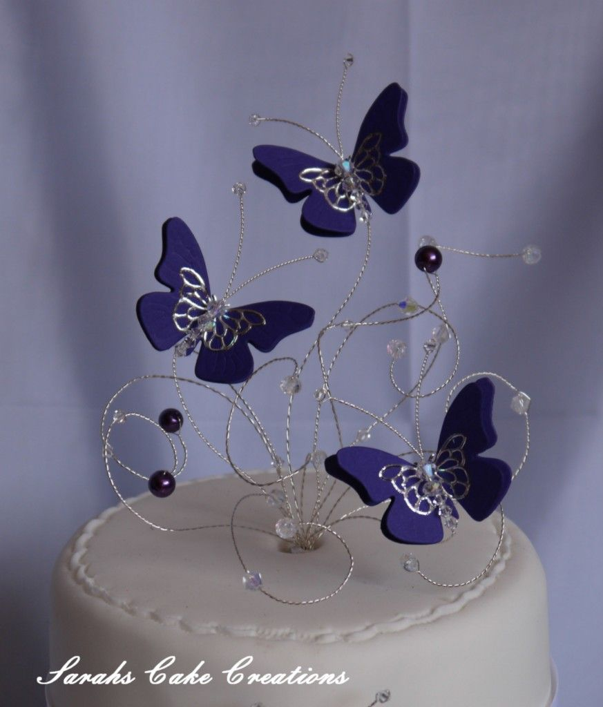 Crystal Set Butterfly Cake Topper Wedding Birthday Anniversary
