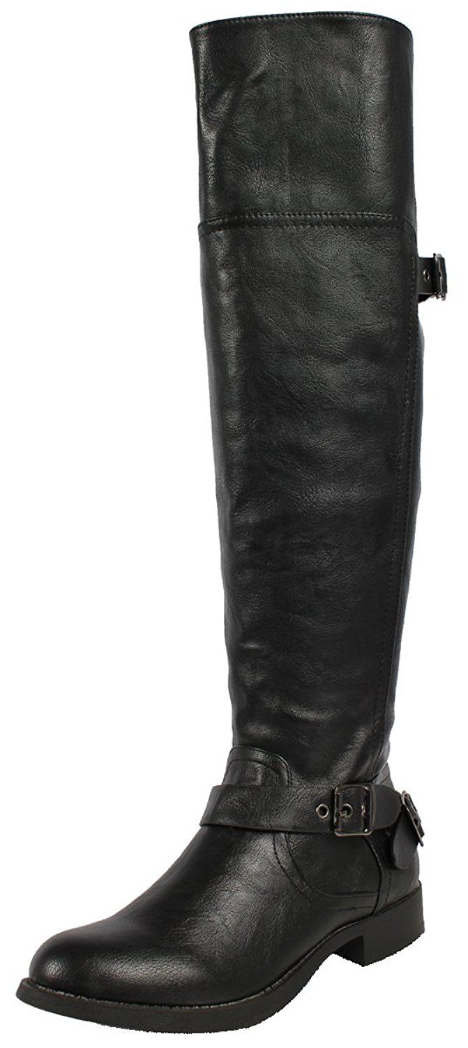 Soda Women's Savy Faux Leather Side Zipper Open Back Knee High Boots * Check this awesome product by going to the link at the image.