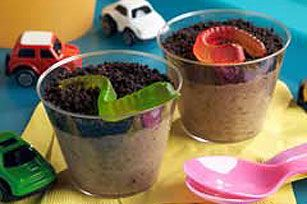 1 pkg. (3.9 oz.) Chocolate Instant Pudding  2 cups cold milk  1 tub (8 oz.) COOL WHIP thawed  15 OREOs, finely crushed (about 1-1/4 cups)  10 gummy worms  BEAT pudding mix and milk in large bowl with whisk 2 min. Let stand 5 min. Stir in COOL WHIP and 1/2 cup cookie crumbs. SPOON into 10 (6- to 7-oz.) paper or plastic cups; top with remaining cookie crumbs. REFRIGERATE 1 hour. Top with fruit snacks just before serving.