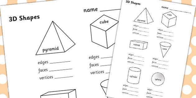 3d shapes properties worksheet ks1
