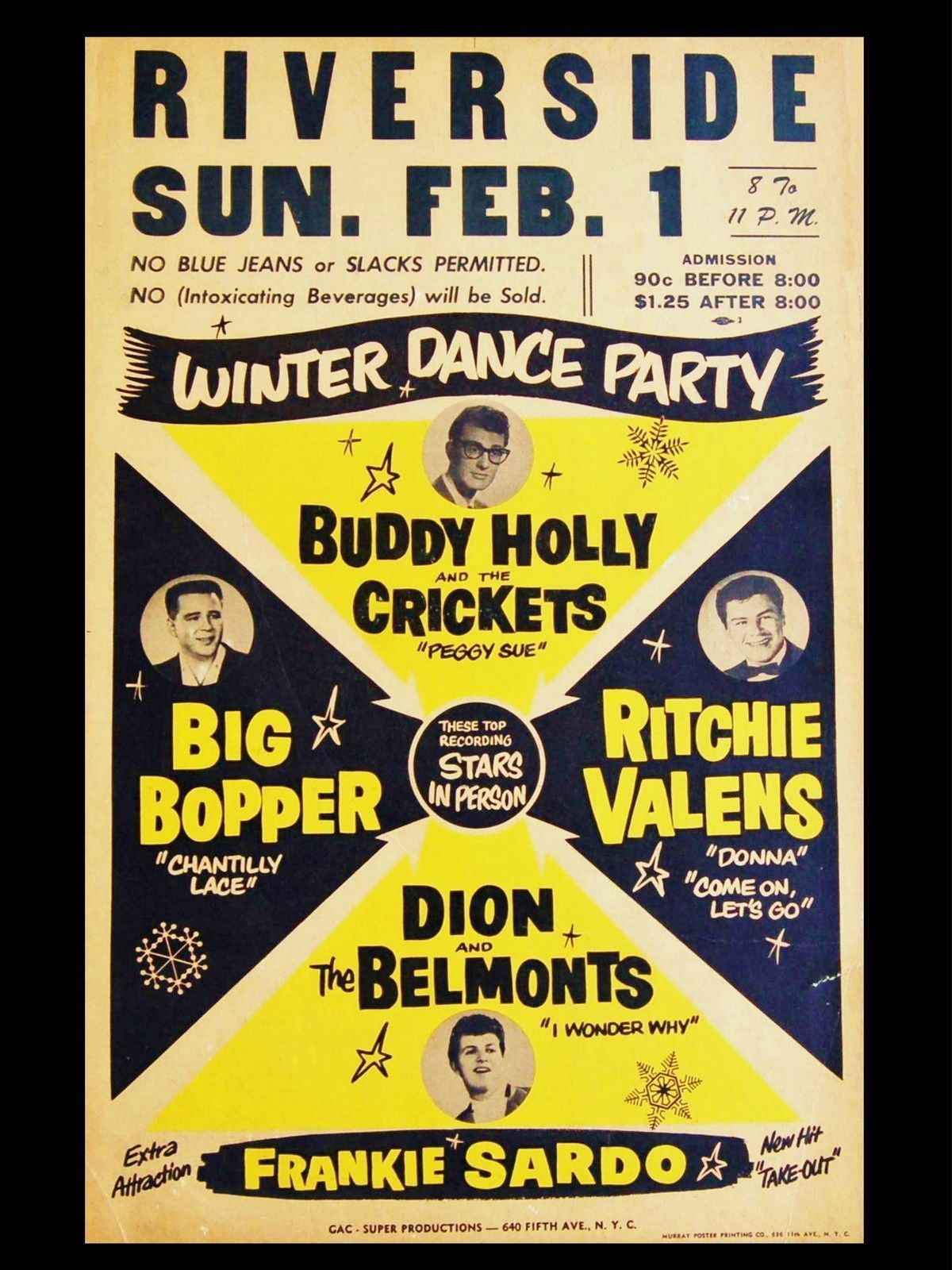 Buddy Holly Riverside Winter Dance Party  Vintage poster//Canvas print
