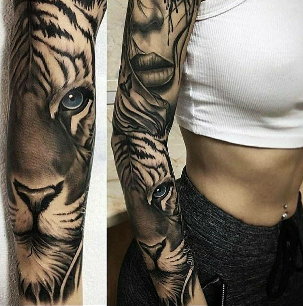 4cc36b19102bc Tiger + woman full sleeve #Polynesiantattoos | Polynesian tattoos ...