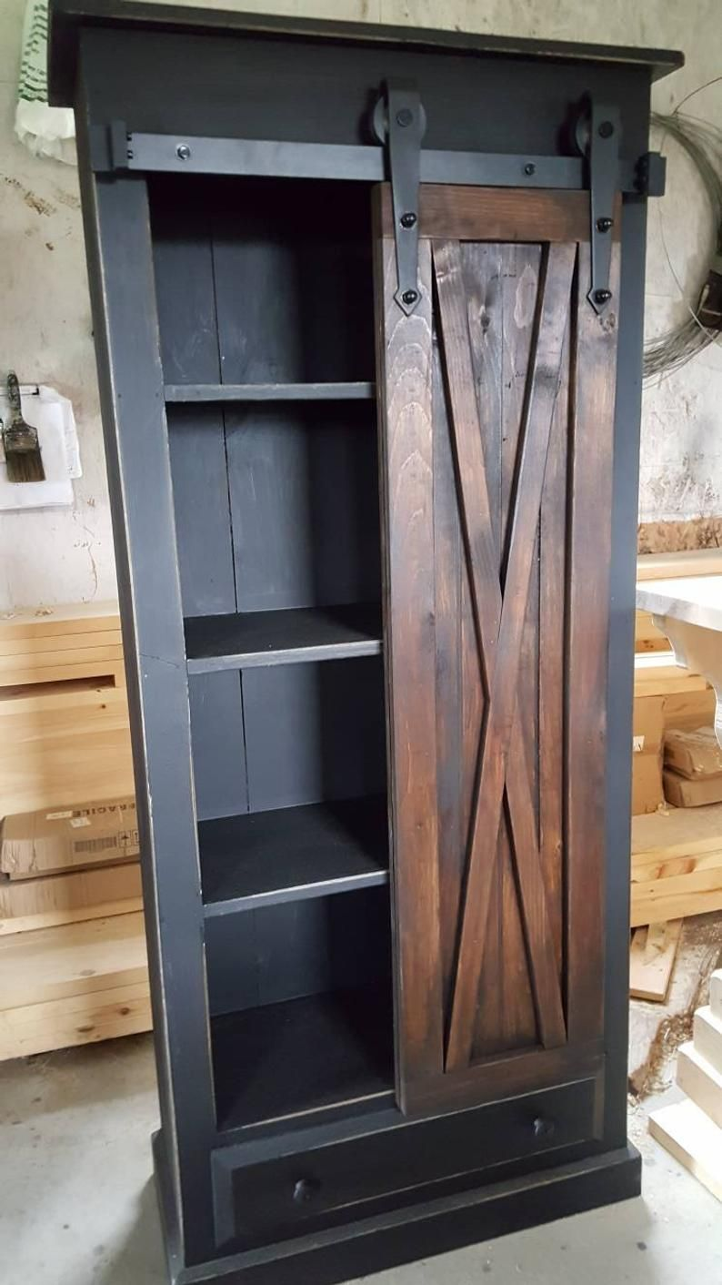 Rustic Barn Door Cabinet Furniture Bathroom Storage Cabinet Etsy In 2020 Barn Door Cabinet Rustic Storage Cabinets Bathroom Storage Cabinet