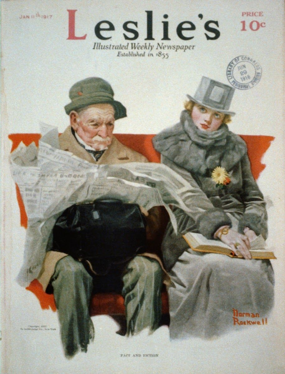 Fact And Fiction Old Man Reading Newspaper Beside Young Woman Reading Book Norman Rockwell Norman Rockwell Art Norman Rockwell Paintings