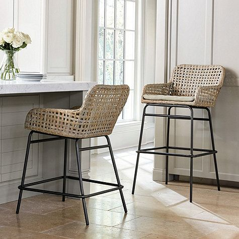 Prepare For Guests To Stay Awhile With Its Low Contoured Arms And Generous Seat Our Bailey Woven Farmhouse Style Bar Stools Kitchen Bar Stools Kitchen Stools