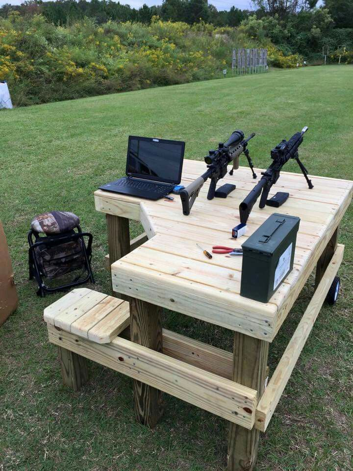 Custom Built Shooting Bench Definitely On The Project List Outdoor Shooting Range Shooting Bench Shooting Bench Plans