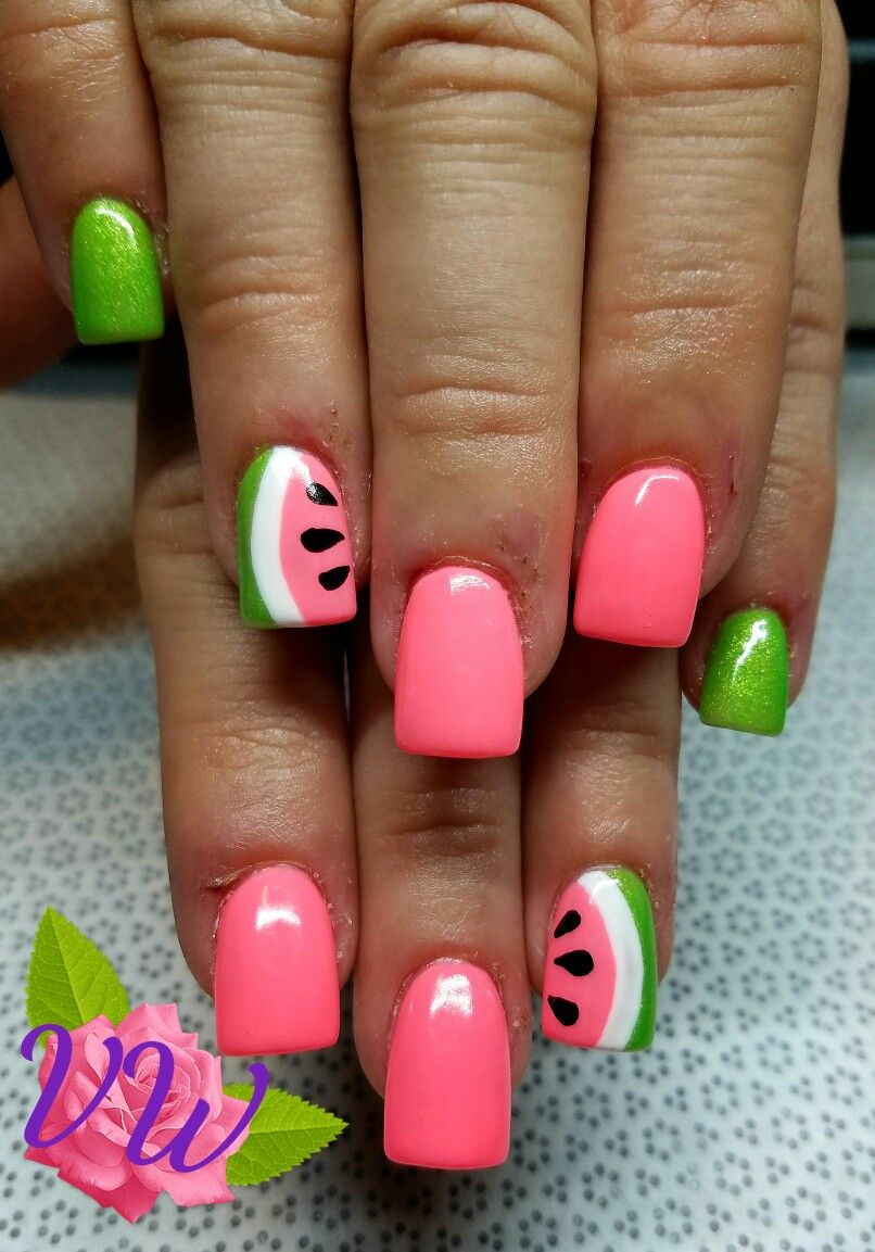 120 Special Summer Nail Designs For Exceptional Look Watermelon Nails Nail Designs Summer Watermelon Nail Art
