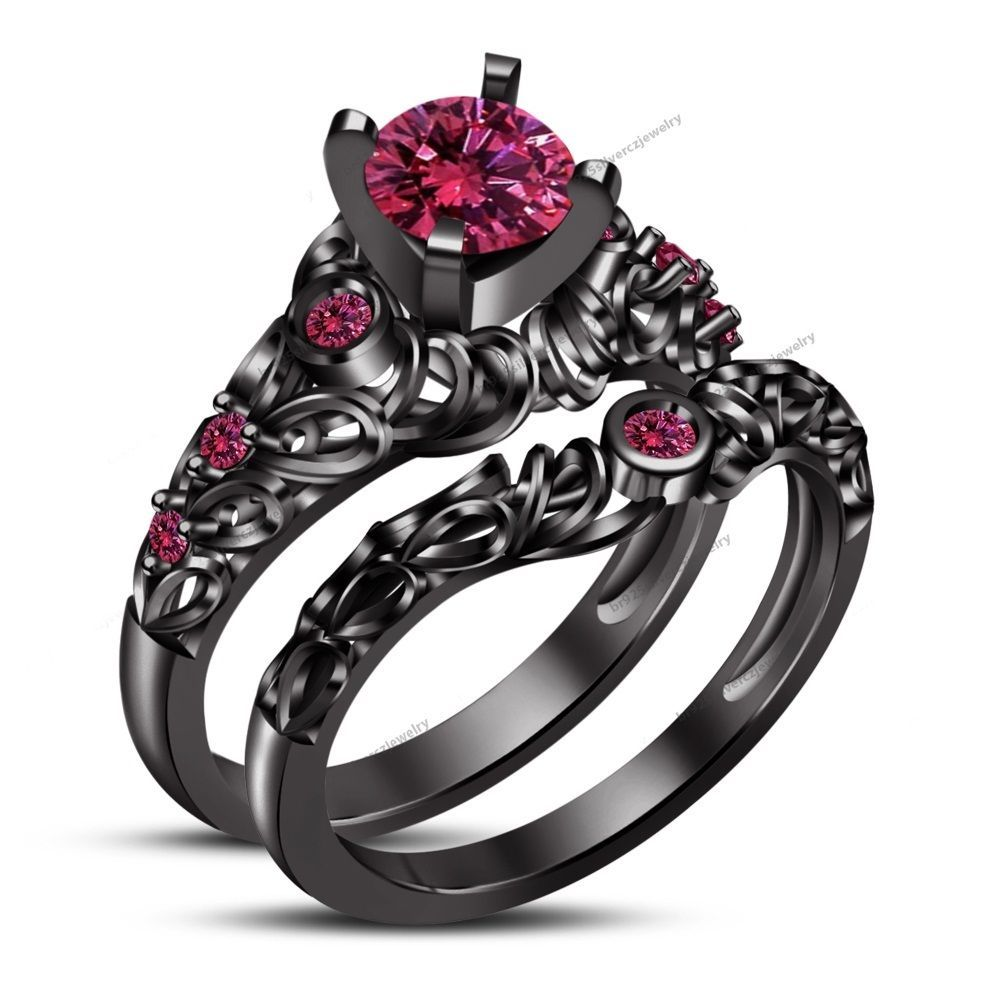 1.00CT Pink Sapphire Black Gold Plated Women's Bridal Ring Set For Engagement  #br925
