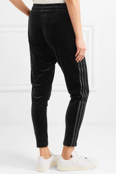 adidas Originals Grosgrain trimmed velvet track pants