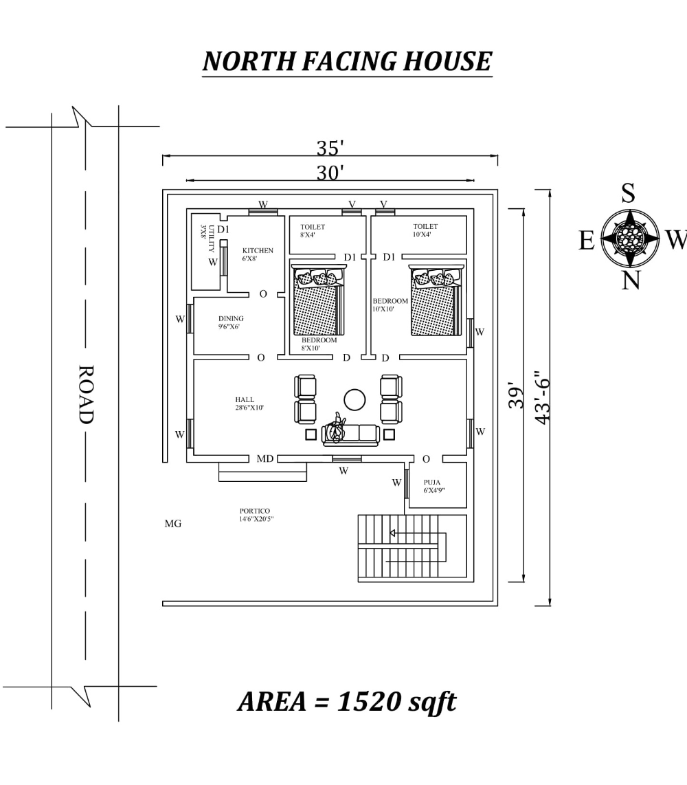 30 X39 Amazing North Facing 2bhk House Plan As Per Vastu Shastra Autocad Dwg And Pdf File Details 2bhk House Plan North Facing House House Plans