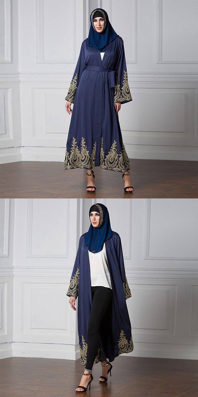8aca3f4a87 Graceful Women Royal Blue Abaya Patchwork Elegant Muslim Long Dress Ladies  Muslim Long Cardigan