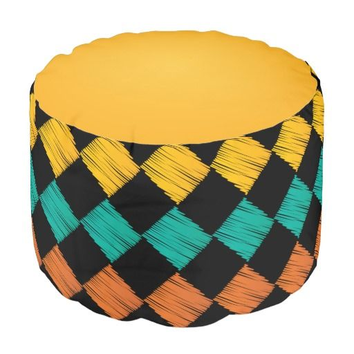 Colorful Abstract #Scribble #Diamonds Pattern #Pouf #zazzlebesties #zazzle #shopping #decor