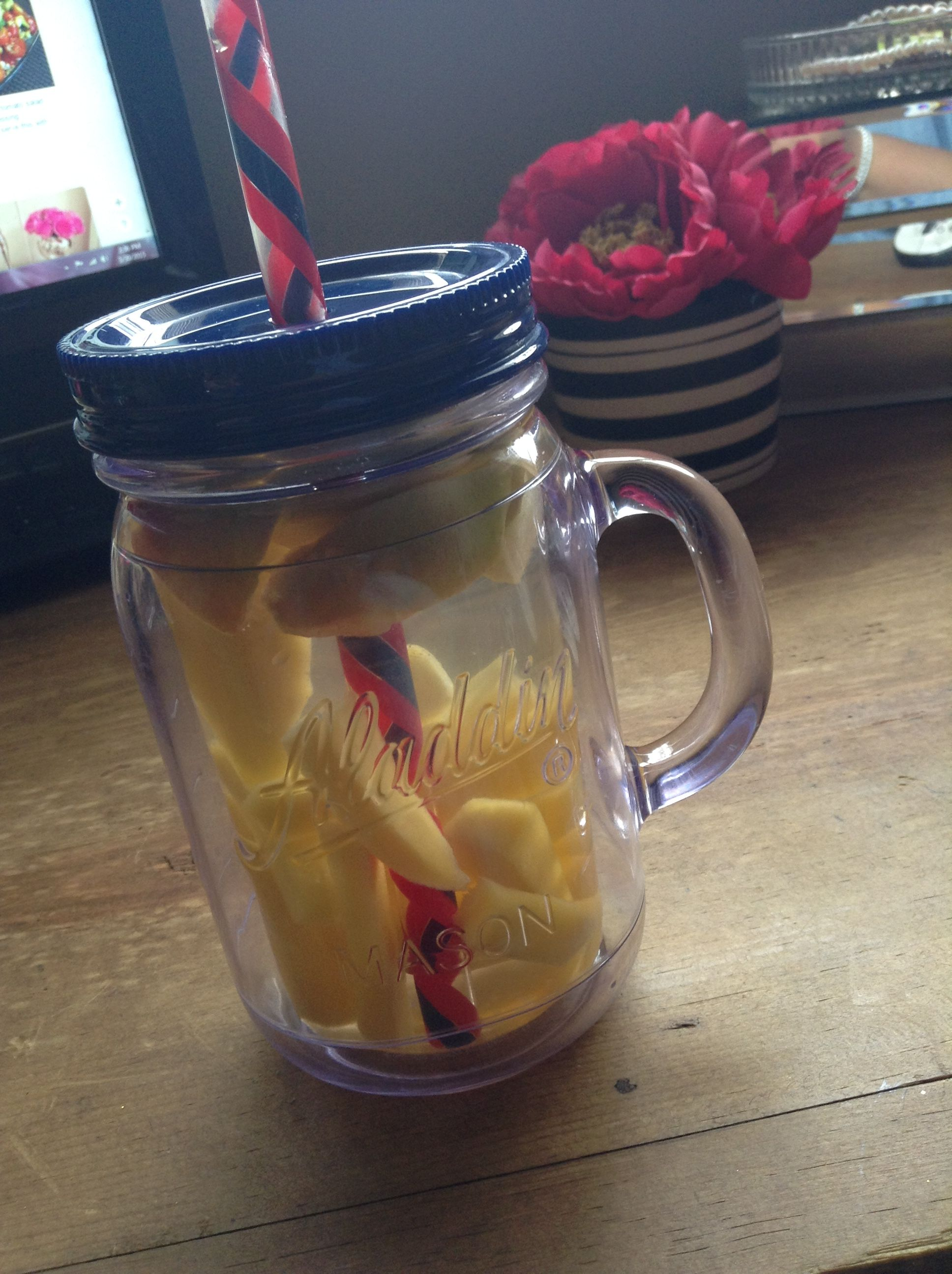 Fruit infused water. Really healthy for you. or if you just dont feel like drinking water, add some fruit to it. & The fruit will give the water a fruity taste! So good! & fun! I added mango and apple. take it for a run, or just relax!
