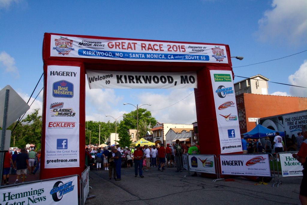 Starting point for the 6/20/2015 Great Race 2015 - Kirkwood MO. The Route 66 race ends in Santa Monday ca CA after 2500 miles.