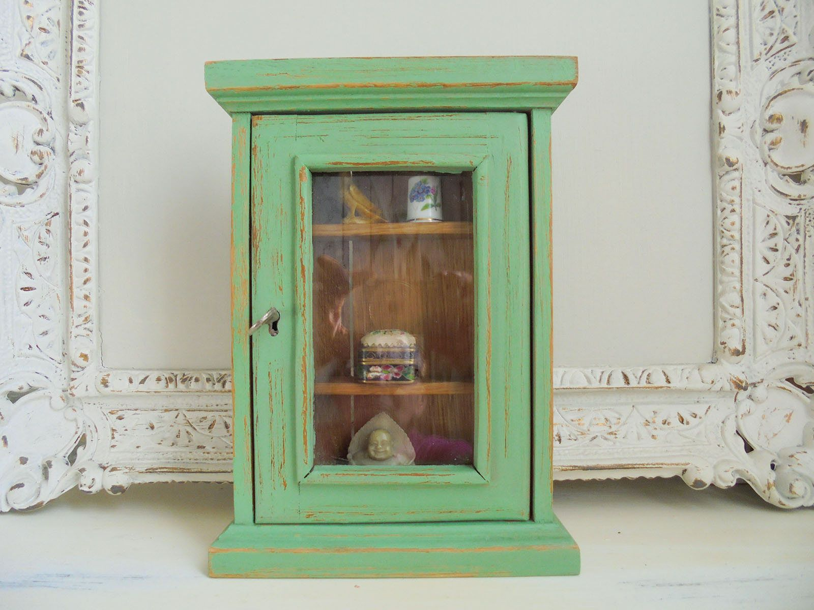 Kleine Wandschränke Small Showcase Green Antique Green Shabby Chic Unique
