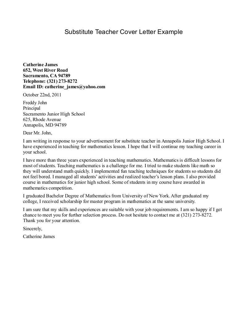 Cover Letters For Teacher Substitute Pool Sdusc