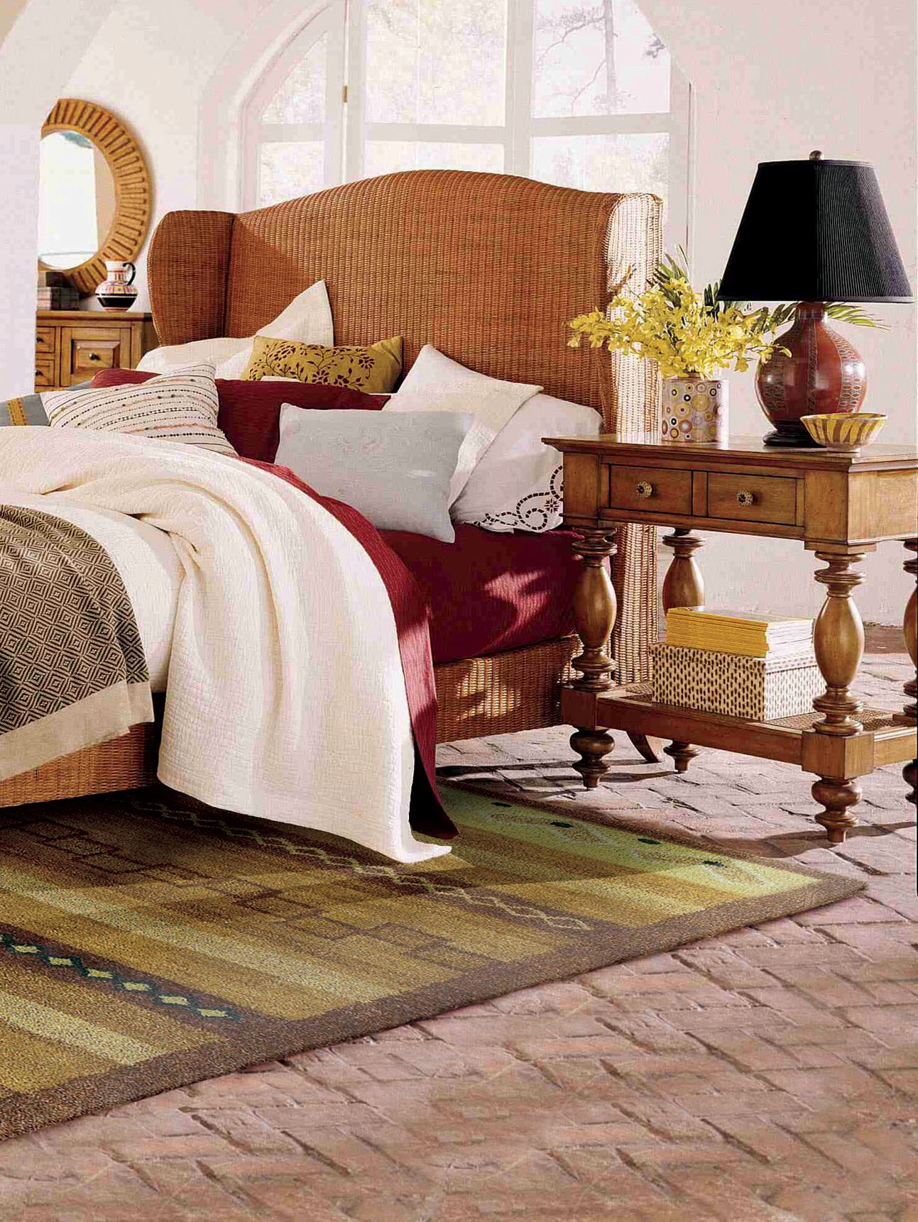 Layer your bedding for a feel. An area rug under