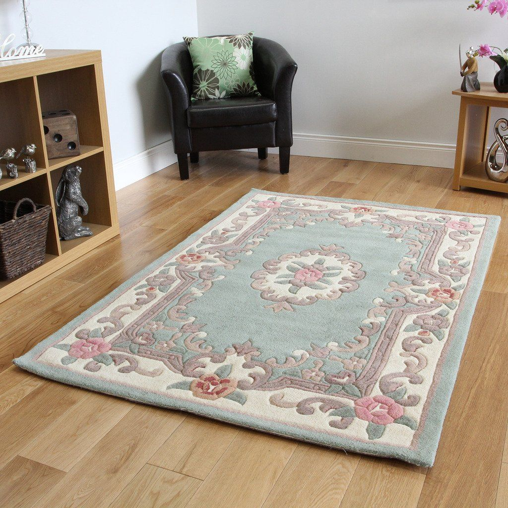 100 High Quality Wool Mint Green Traditional Style Circle Rugs