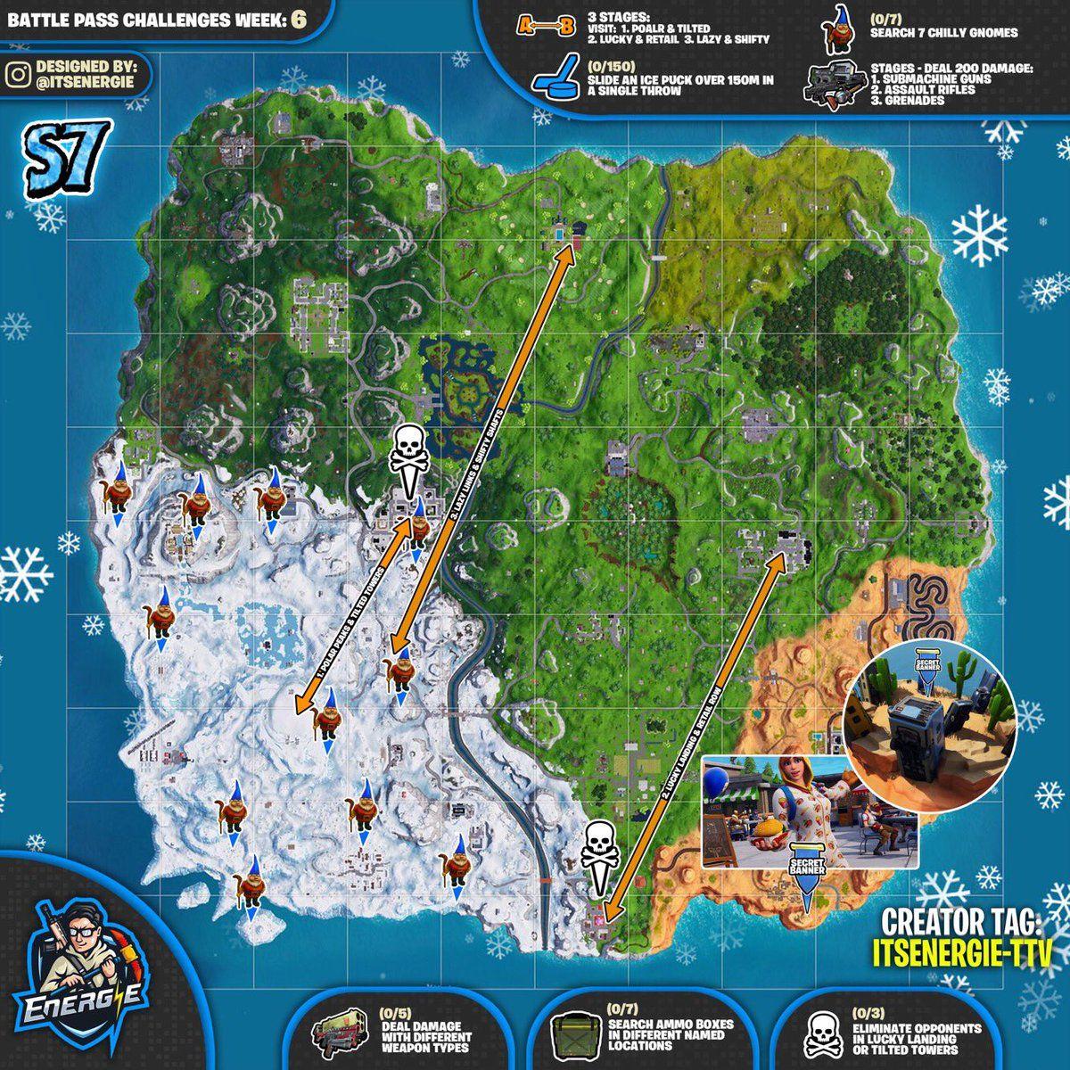 fortnite cheat sheet map for season 7 week 6 challenges fortnite fortnitebattleroyale game - fortnite season 7 cheat map