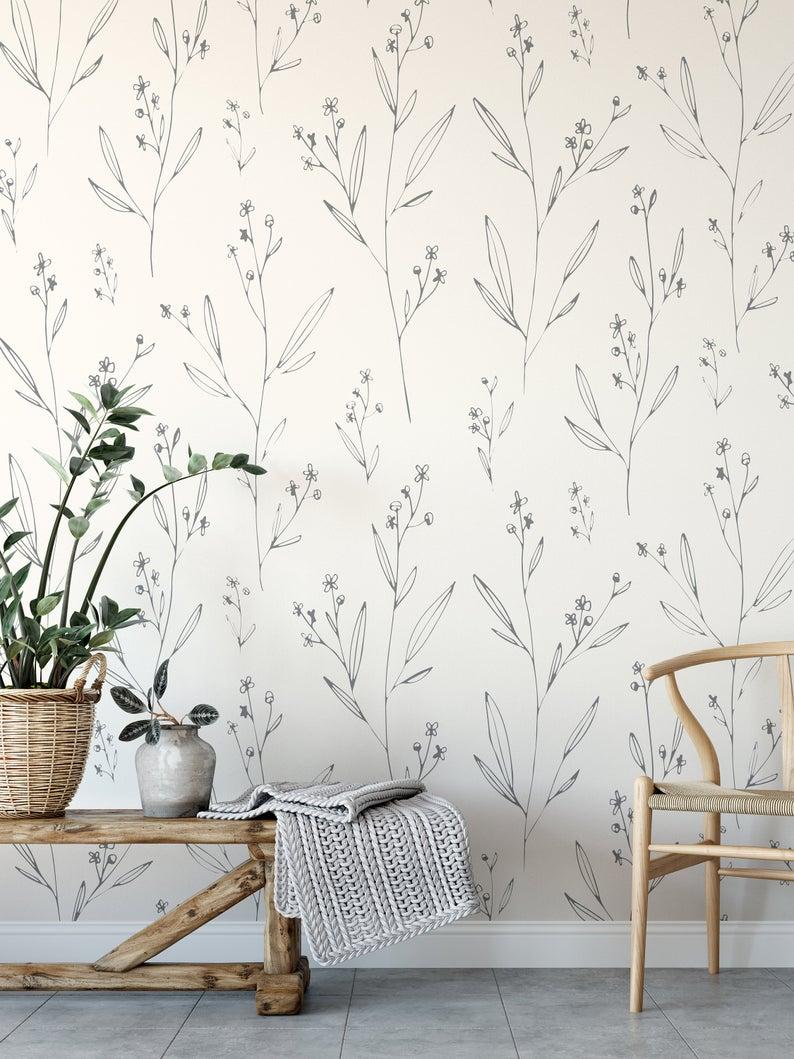 Minimal Modern Wallpaper Removable Wallpaper Peel And Stick Etsy In 2020 Removable Wallpaper Modern Wallpaper Peel And Stick Wallpaper