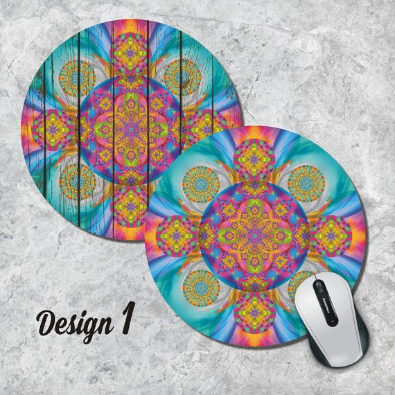 photo about Printable Mouse Pad titled Kaleidoscope Mandala Mousepad Vibrant Mouse Pad by way of