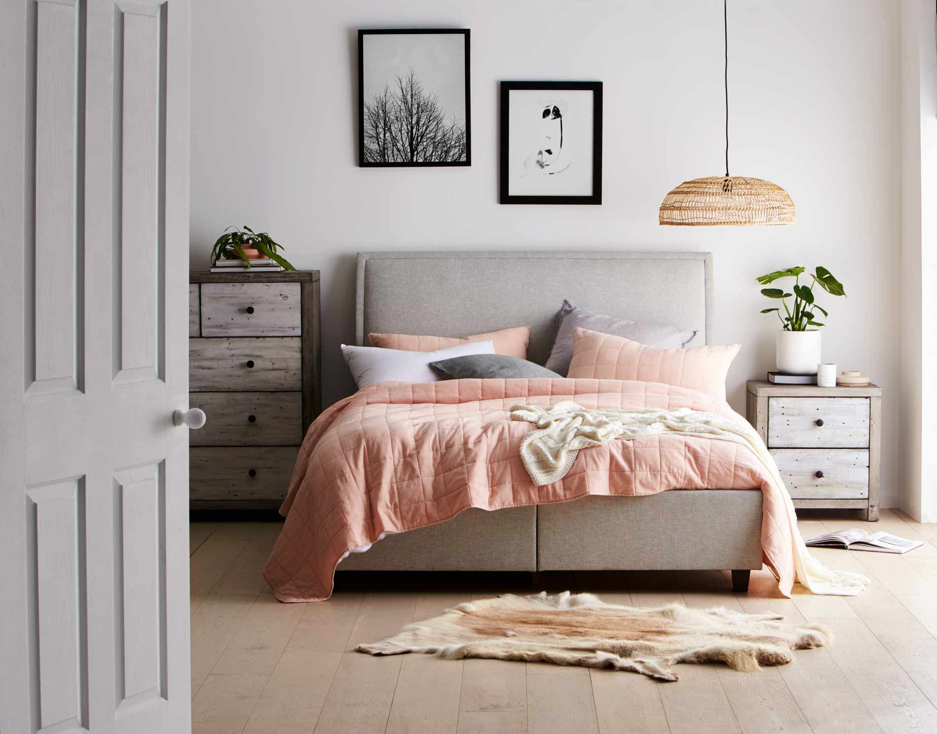 Truffle upholstered bedhead light grey bedroom furniture forty