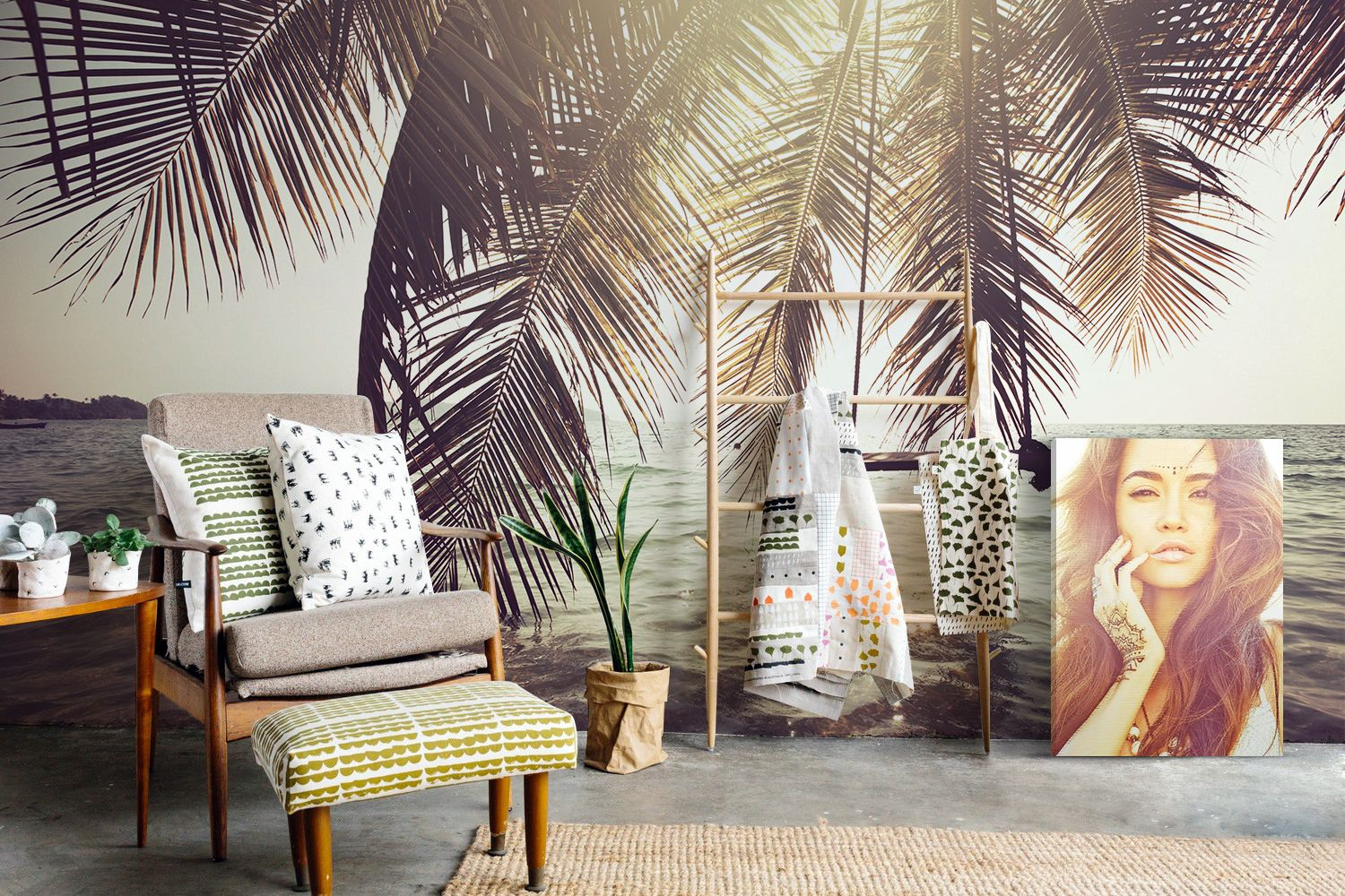 Under the palms • boho living room people landscapes wall murals prints • pixers • we live to change