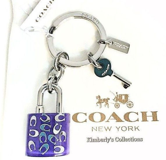 Coach Sprinkle C Lucite Lock Key Ring Keychain Purple Silver Purse Bag Fob Nwt Silver Purses Keychain Silver Rings Handmade