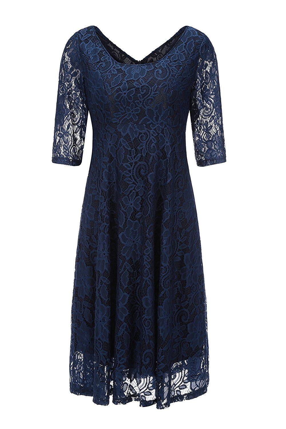 Lace t shirt wedding dress november 2018 Awesome Great SHDRESS Empire Waist Midi Lace Cocktail Dresses With