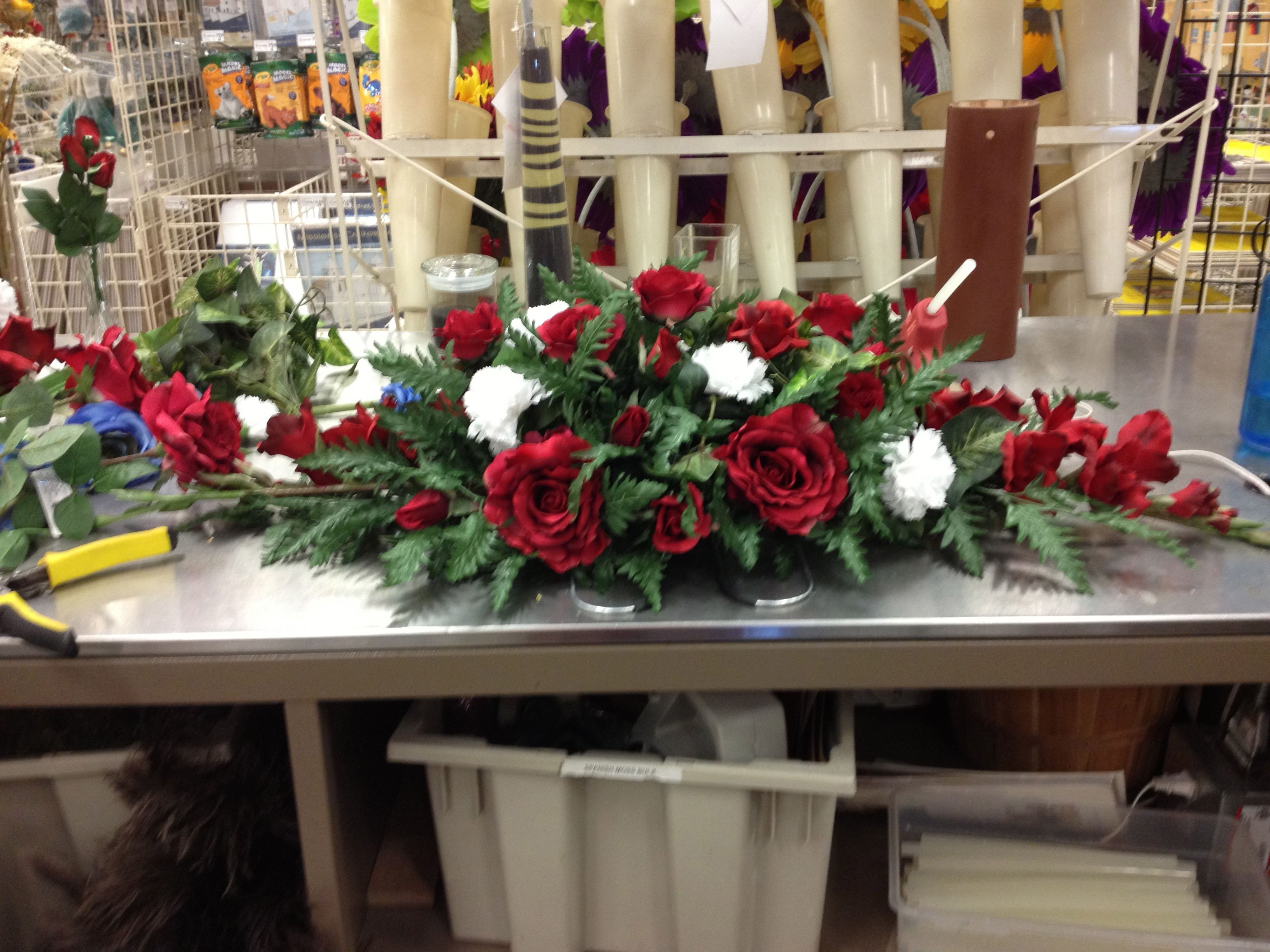 My First Casket Spray With Artificial Flowers Funeral Floral Arrangements Funeral Flower Arrangements Funeral Floral