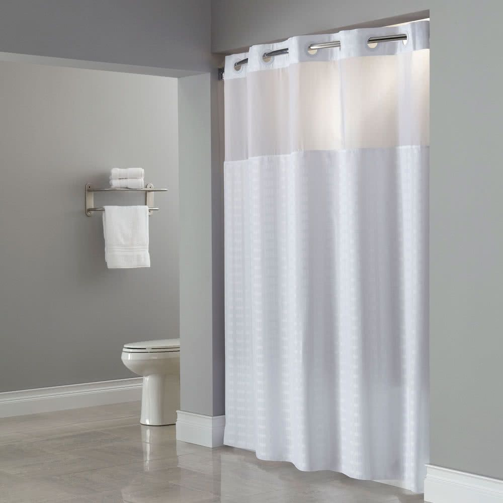 Hookless hbhmys white madison shower curtain with matching flat